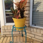 Teal plant stand